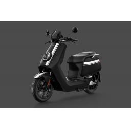 Niu NQiGTS Sport Electric Moped Black White Front Left