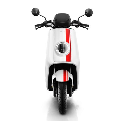 Niu NQiGTS Sport Electric Moped White Red Front